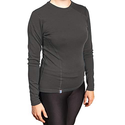 Alpin Loacker Bio Merino Shirt Langarm 230g/m | 100% Merinowolle Sweatshirt Frauen | wärmeregulierendes Langarmshirt für Frauen Sport & Freizeit | Größenwahl (grau, S)