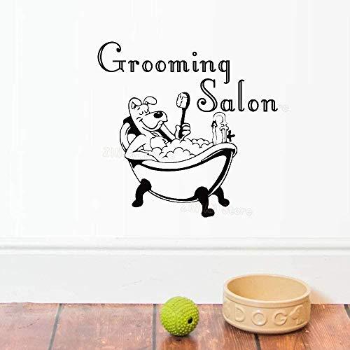 Muurstickers muurstickers grappige hond bad kleedkamer raam huisdier winkel versieren grijs 56X59 cm