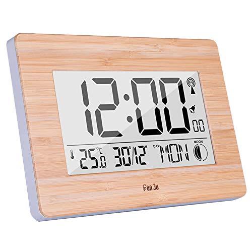 Tiamu Reloj de Pared Digital LCD Gran NúMero Grande Tiempo Temperatura Calendario Alarma Mesa Relojes de Escritorio Dise?O Moderno DecoracióN de Oficina de Casa