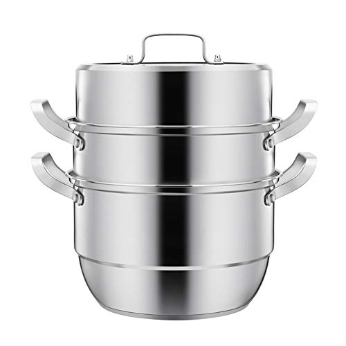 ROYWY Vaporera Olla para sopa,Cacerola, Tapa de Cristal Cacerola de acero inoxidable...