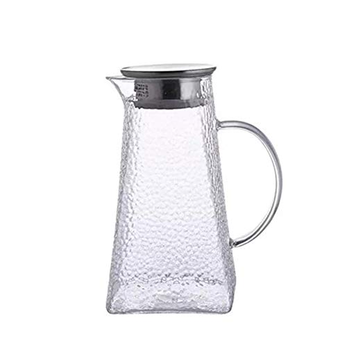 QAX Jarra de Vidrio de 1.5 litros Garrafa con Tapa de Silicona para Leche Zumo té Helado Limonada y Bebidas Chispeantes
