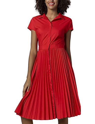 APART seidiges Damen Kleid, Sommerkleid, Rockpart in Sonnenplissée, Cooler Chic für Sommertage