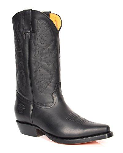 Bottes de cowboy à enfiler en cuir noir à pointu et talons longs – ALBH57 - Noir - Noir , 46 EU