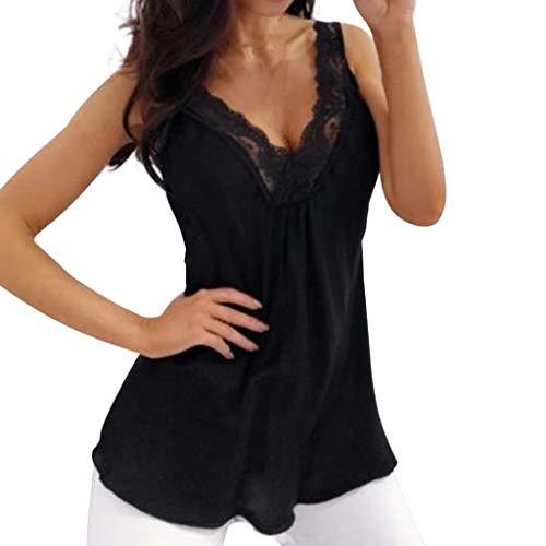 VEMOW Tops Camisas sin Mangas Casuales sin Mangas de Moda de Verano (Negro,2XL)