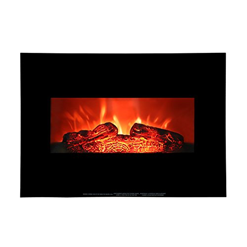 ROVSUN 26'' Wall Mounted Electric Fireplace 750W/1500W Firebox Modern Adjustable Space Heater with Realistic and Brightly Burning Flames & Logs,Glass Flat Panel,CSA Approved