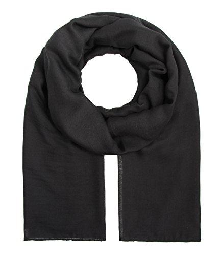 Majea Tuch Aurora großes Damen-Halstuch XXL Schal Damen Tuch Halstuch einfarbig uni unisex unifarben Schals und Tücher, Schwarz, 180x105