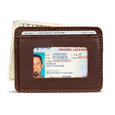 Saddleback Leather Co. Slim Full Grain Leather Front Pocket ID Window Wallet for Men Includes 100 Year Warranty