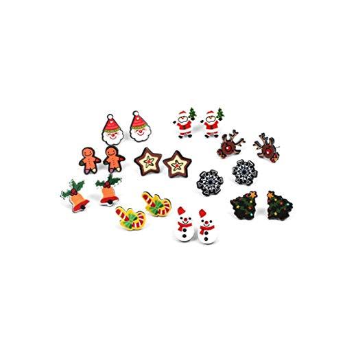 Pendientes de la Historieta Creativa del Copo de Nieve de Santa Diseño del oído del Perno Prisionero de la función Multi de Vacaciones Kit Combinado para joyería 1set Muchachas de Las Mujeres