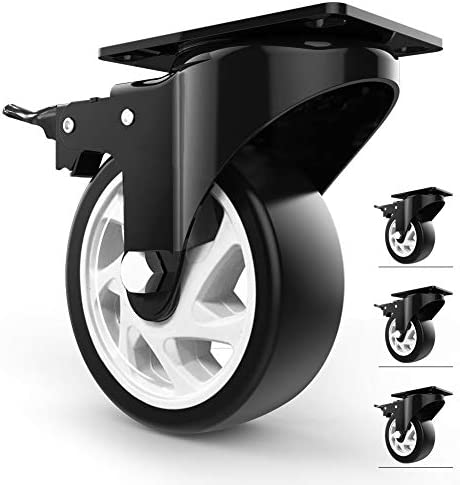 Homhoo 5 Swivel Caster Wheels with Safety Dual Locking and Polyurethane Foam No Noise Wheels product image