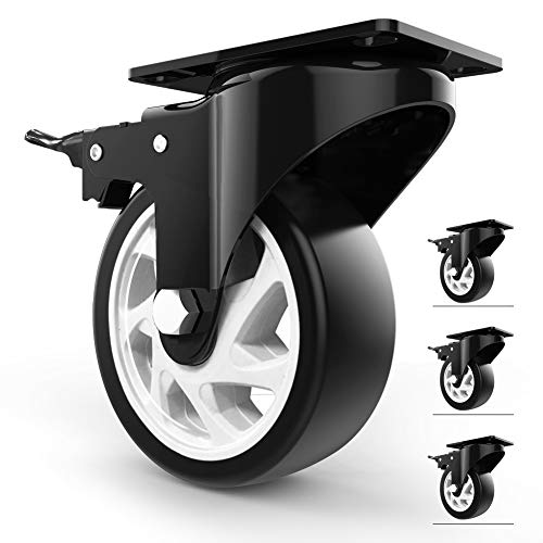 5' Swivel Caster Wheels with Safety Dual Locking and Polyurethane Foam No Noise Wheels, Heavy Duty -...
