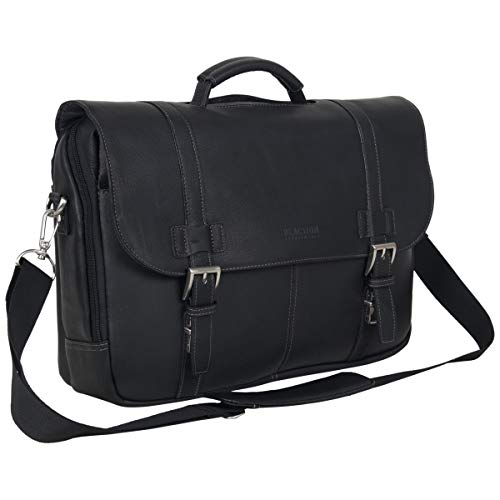 Kenneth Cole Reaction Show Full-Grain Colombian Leather Dual Compartment Flapover 15.6-inch Laptop Business Portfolio, Black