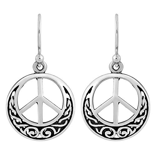 Infinite Peace Sign with Celtic Knot .925 Sterling Silver Dangle Earrings