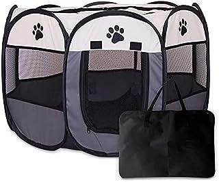 ペット用 折りたたみ式 サークル 八角形 メッシュ屋根付き 大中小型 犬猫適用 アウトドア 室内 お出かけ用品 (M, グレー)