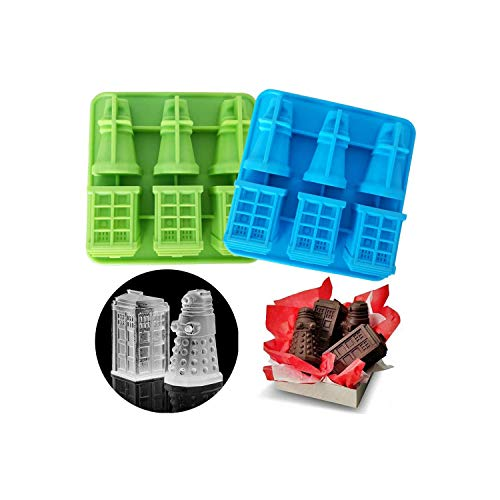 Set of 2 Doctor Who Ice Cube Trays, TARDIS & Daleks Silicone Ice Mold, Mousse Cake Muffin Baking Pan, Jello Chocolate Candy Gelatin Candle Soap Mould (Random Color)