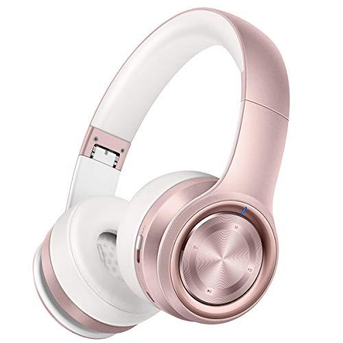 Picun Bluetooth Kopfhörer Over-Ear, 40 Stunden Spielzeit, Damen Kopfhörer Bloothoth 5.0 Kabellos mit Mikrofon, TF Karte Modus, 3,5mm Audio AUX, Faltbares Headset für Handy/TV/Tablets/PC - Rose Gold
