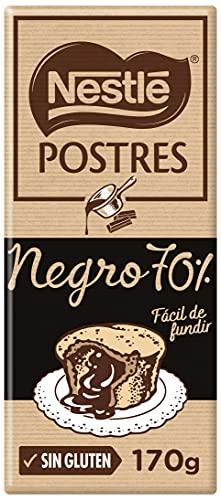 Nestlé POSTRES Chocolate negro para fundir 70% cacao - Tableta de chocolate para repostería 14x170g