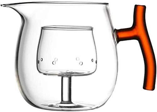 Bouilloire induction Théière en verre Grande théière transparente avec petite tasse de cuisson en acier inoxydable Coffre-fort for bureau à domicile extérieure WHLONG