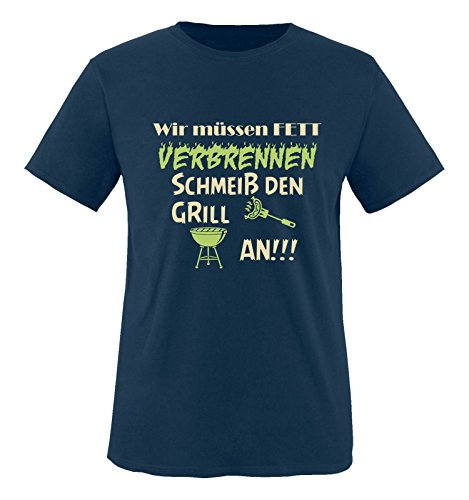 Comedy Shirts - Wir müssen Fett verbrennen schmeiß den Grill an!!! - Herren T-Shirt - Navy/Beige-Hellgrün Gr. XXL