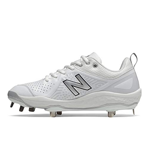 New Balance Women's Fresh Foam Velo V2 Metal Softball Shoe, White/White, 10.5