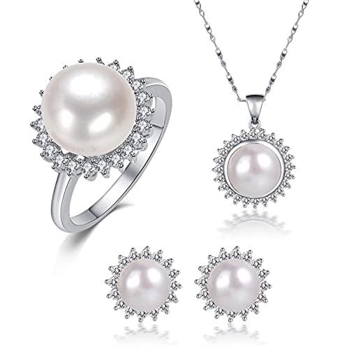 SALAN Colgantes De Joyería De Plata De Ley 925 para Mujer, Conjuntos De Joyas De Perlas, Collar De Perlas Naturales De Agua Dulce, Pendientes