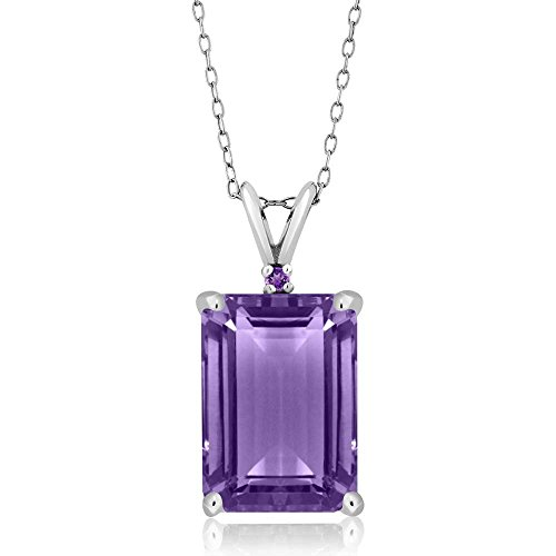 Gem Stone King Purple Amethyst 925 Sterling Silver Pendant Necklace 7.12 Ct Emerald Cut Gemstone...