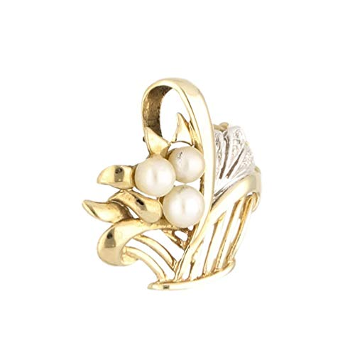 Jollys Jewellers Colgante de oro amarillo de 9 quilates con perla y cesta de diamantes (19 x 14 mm)