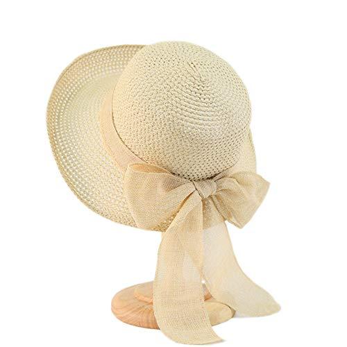 Kqpoinw Cappelli Cappellini, Ladies Cappello di Paglia Cappellino Pieghevole Floppy Wide Brim Cappello da Sole Estivo Cappelli da Spiaggia per Le Donne (Bianca)