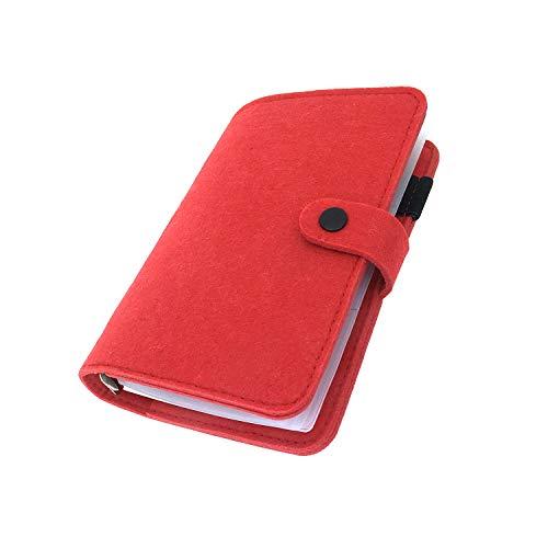手帳 バインダー紐 システム カバー6穴 フェルト マテリアルシステムハンドブックビジネス学生6リングA5 A6ペンカード入れ, Red 30, A5 combo