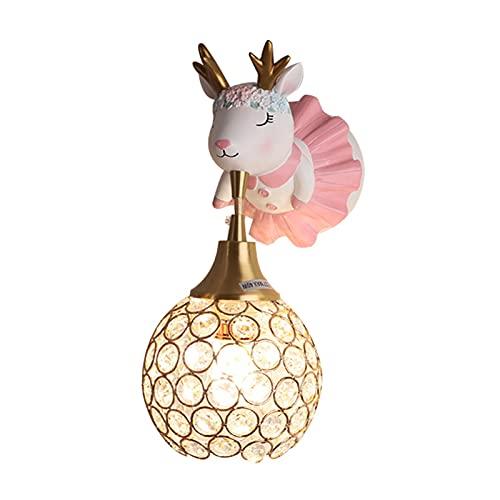 Niños Lámpara de Pared Creativo Linda Cuarto Lámpara de Noche Habitación Aplique de Pared Rosa Resina Alce Lámpara de Cabecera Chico Niña Cuarto del Bebé Moderno E27 Sala de Estar Luce Nocturna