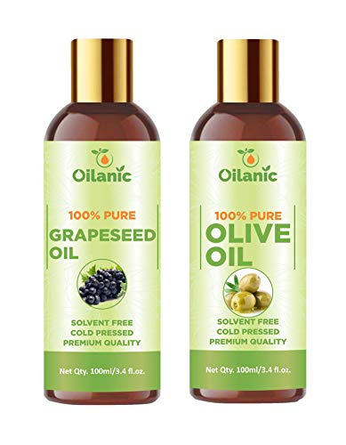 Oilanic 100% Pure & Natural Grapeseed Oil & Olive Oil Combo pack of 2 bottles of 100 ml(200 ml)