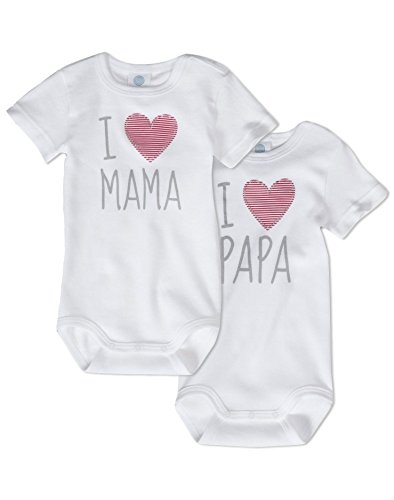 Sanetta Body I Love Mum and I Love Daddy Unisex 100% algodón orgánico (paquete de 2)