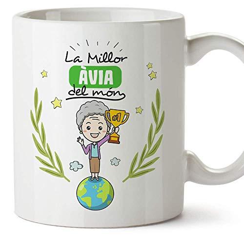 """MUGFFINS Taza Abuela (En Catalán)""""La Millor Àvia del Món"""" Taza Desayuno/Idea Regalo Día de la Abuela. Cerámica 350 mL"""