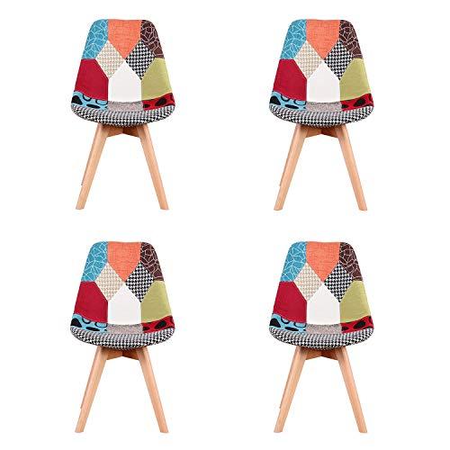 ArtDesign FR - Sedie da pranzo in tessuto patchwork, stile moderno, con base in legno massiccio, 4 pezzi