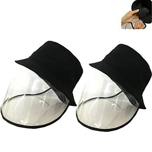 Cappellino da baseball unisex per adulti con visiera in PVC trasparente, protezione pubblica, anti goccioline A-2 cappelli neri a secchio. Taglia unica