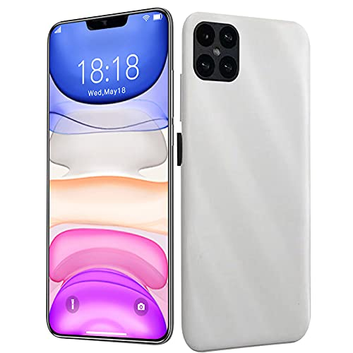 Unlocked Smartphones, 4G Dual sim Unlocked Cell Phones, I12Pro+ 6.3 inch 4-Camera Android 1G RAM + 16GB ROM, 18: 9 Water Drop Project High-Definition Full Screen, Fingerprint Face ID (White)