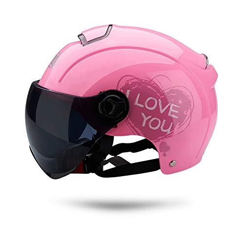 Galatée Erwachsenen Harley Motorradhelm Scooter-Helm, Mode halboffener Helm mit Schutzbrille,Der stoßfeste belüftete Helm schützt die Sicherheit des Benutzers (Rosa)