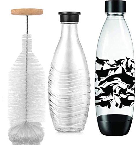 Grunda 35cm Flaschenbürste kompatibel mit Sodastream Glasflasche, kratzerfreier Flaschenreiniger Bürste Löst hartnäckigen Schmutz, Reinigungsbürste mit Perfekter Passform für Glaskaraffe