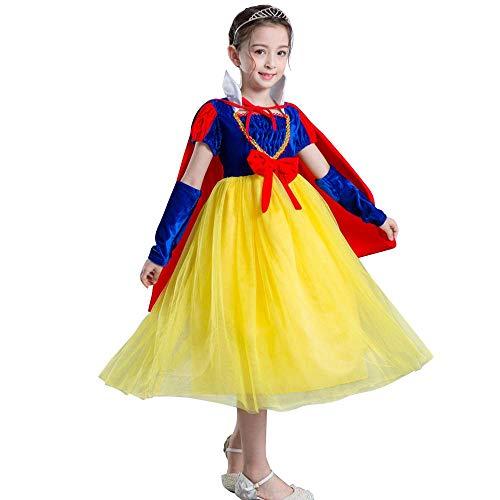 IMEKIS - Disfraz de Hada para nia con Vestido de Princesa Blanco y Nieve, para Halloween, Navidad, Carnaval, Cosplay, cumpleaos, Bodas, Bailes, Corona, Mangas y Capa de Capa