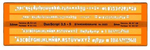Schriftschablone 3,5 + 5mm für Feinmine 0,3;0,5 Feinfaser 0,1;0,3