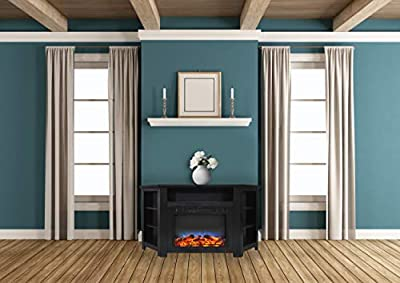 Cambridge CAM5630-1CHRLED Stratford 56 in. Electric Corner Fireplace in Cherry with LED Multi-Color Display
