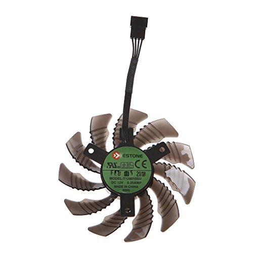 Jiamins Repuesto de ventilador de tarjeta gráfica de 12 V, ventilador de refrigeración de 4 pines para Gigabyte GTX1050 1060 1070 1080 N960 N9700