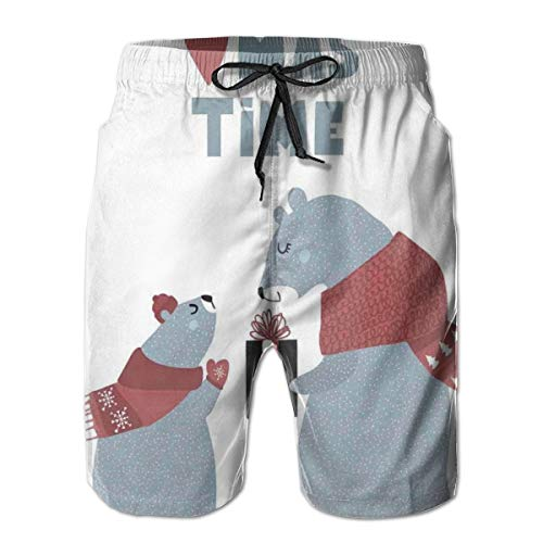 Swimming Shorts Funny Printed,Christmas Time Baby Bear Giving Present to Mom Noel Celebration Theme,Quick Dry Beach Board Trunks with Mesh Lining,XX-Large