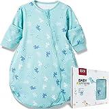 BN Lightweight Toddler Sleep Sack Cotton Baby Sleeping Bag with 2-Way Zipper Wearable Blanket Baby 12-18 Months Long Sleeve (M, Blue Deer, 0.5Tog)