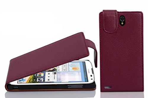 Cadorabo Hülle für Huawei Ascend G610 - Hülle in Bordeaux LILA – Handyhülle aus Strukturiertem Kunstleder im Flip Design - Hülle Cover Schutzhülle Etui Tasche