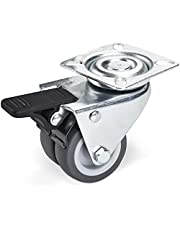 SOTECH Zwenkwiel met rem (Ø 50 mm, draagkracht 100 kg, aanschroefplaat: 60 x 60 mm) voor palletmeubels of als transportrol, strandstoelwielen