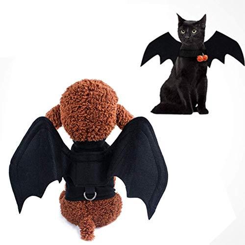 La técnica alas de murciélago Disfraz Traje del Animal doméstico de Halloween del Vampiro Cosplay de Navidad del Perro casero, for los Gatos Perros Partido-Negro (Tamaño: M) ZZAY (Size : Small)