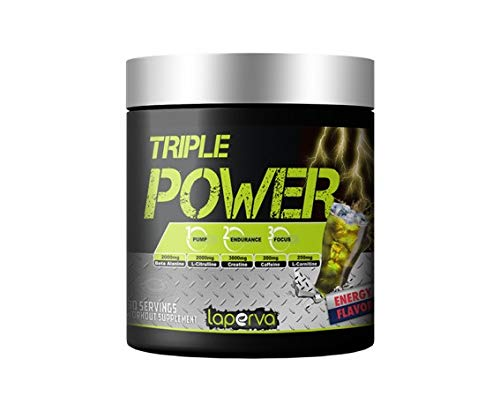 LAPERVA Triple Power Pre-Workout r Increase Physical Performance with Citrulline, Creatine, Beta Alanine, Caffeine Vitamin B Complex 30 Serving (Energy Flavor)