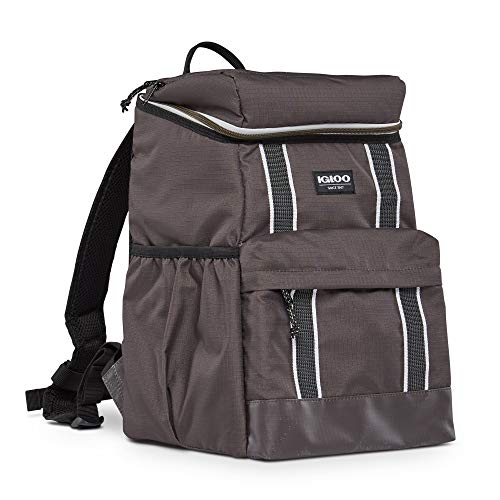 Igloo 30 Can Large Portable Lunchbox Soft Sided Insulated Cooler Backpack Carry Bag with Adjustable Shoulder Straps for Hiking, Camping, Fishing, and Picnics, Olive