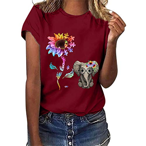 Blusa de Mujer Camisa Verano Moda Casual Impresión Elegante Mangas Cortas Cuello Redondo Basica Camiseta Fiesta T-Shirt Suelto Camiseta Tops