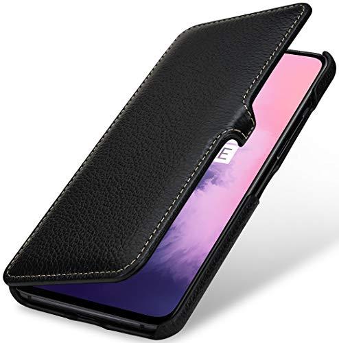 StilGut Hülle geeignet für OnePlus 7 Lederhülle Book Type, schwarz mit Clip